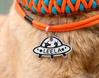 UFO dog tag, unknown flying object, alien dog tag, space id tad, rocket pet id tag, luna id tag