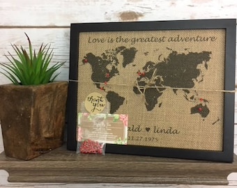 Framed world map etsy framed burlap push pin travel world map map of united states us push pin gumiabroncs Image collections