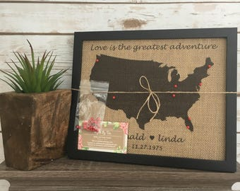 Push pin travel map etsy framed burlap push pin travel map of united states world map us push pin gumiabroncs Image collections