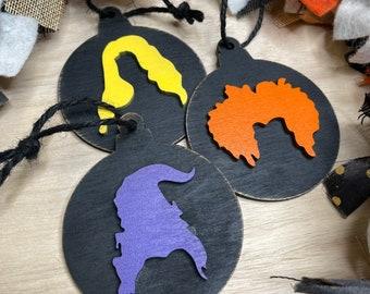 Wood Hocus Pocus Ornaments set of 9| Farmhouse Style Ornament Set | Sanderson sisters Ornaments | Halloween Ornament | Wood Ornaments