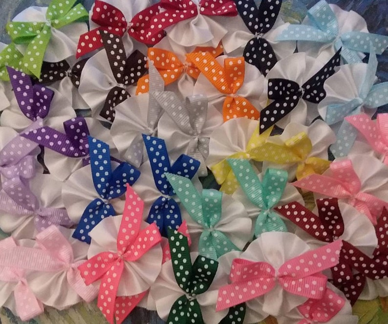 Polka Dot Precious Round Ear and Topknot Bows Groomers Bow Lot Perfect for Everyday Fun 18 Pair Bow Lot