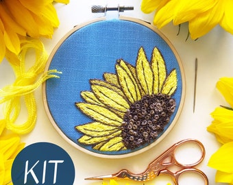 Embroidery Kit, Sunny Sunflower DIY Embroidery Hoop Art, Complete Kit