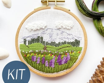 DIY Embroidery Kit for Beginners, Mount Rainier Landscape, Full Embroidery Kit