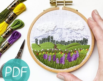 Embroidery Pattern for Beginners, Mount Rainier PDF
