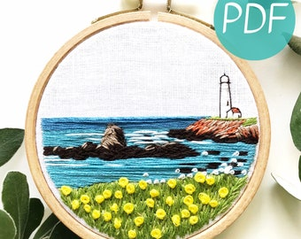 Lighthouse By the Bay Hand Embroidery Pattern PDF