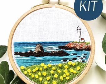 Embroidery Kit, Lighthouse by the Bay Beginner Seascape Embroidery Hoop Art, Complete Kit