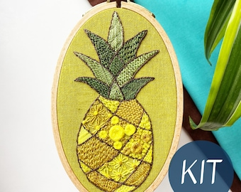 Embroidery Kit, Patchwork Pineapple Intermediate Embroidery Sampler, Complete Kit