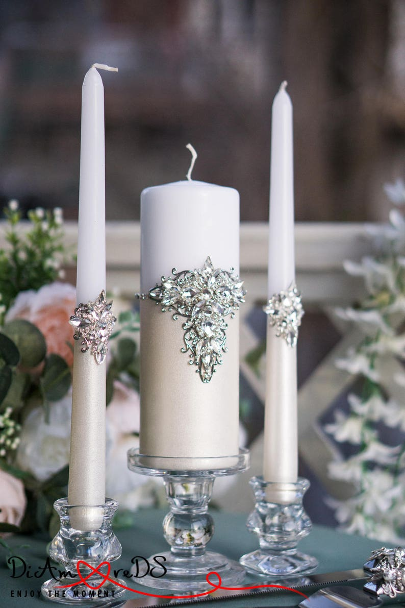 Personalized Unity Candle Set Wedding Silver Crystal Wedding Unity Candles Wedding Gift Ideas Winter Wedding Candles Pillar Candles