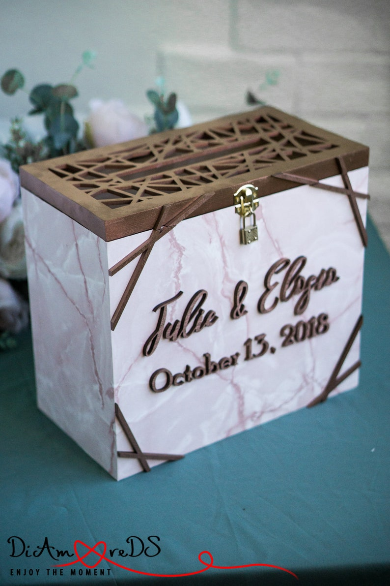 Rose Marble Wedding Card Box With Lock And Slot Wedding Gift Card Box Wedding Card Holder Wedding Money Box Marble Box Card Box Wedding