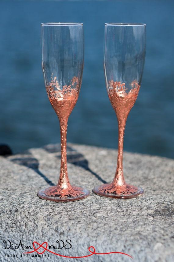 Rose Gold Bronze Personalized Wedding Set Champagne Flutes, Wedding Toasting Flutes Set, Flute Engraved Champagne Glasses Server Gift Set