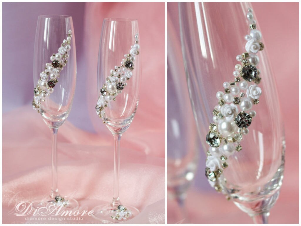 Crystal Wedding Champagne Flutes Silver White Toasting | Etsy