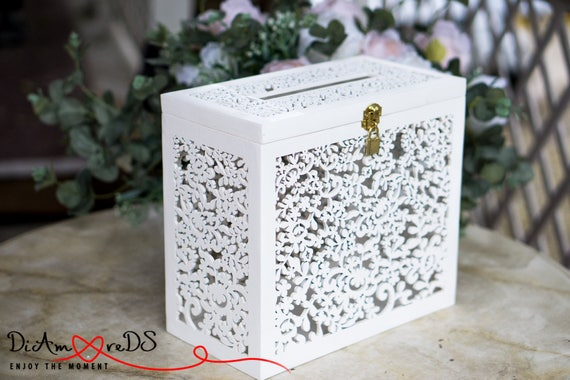 Lace Wedding Card Box With Lock Wedding Money Box Wedding Etsy