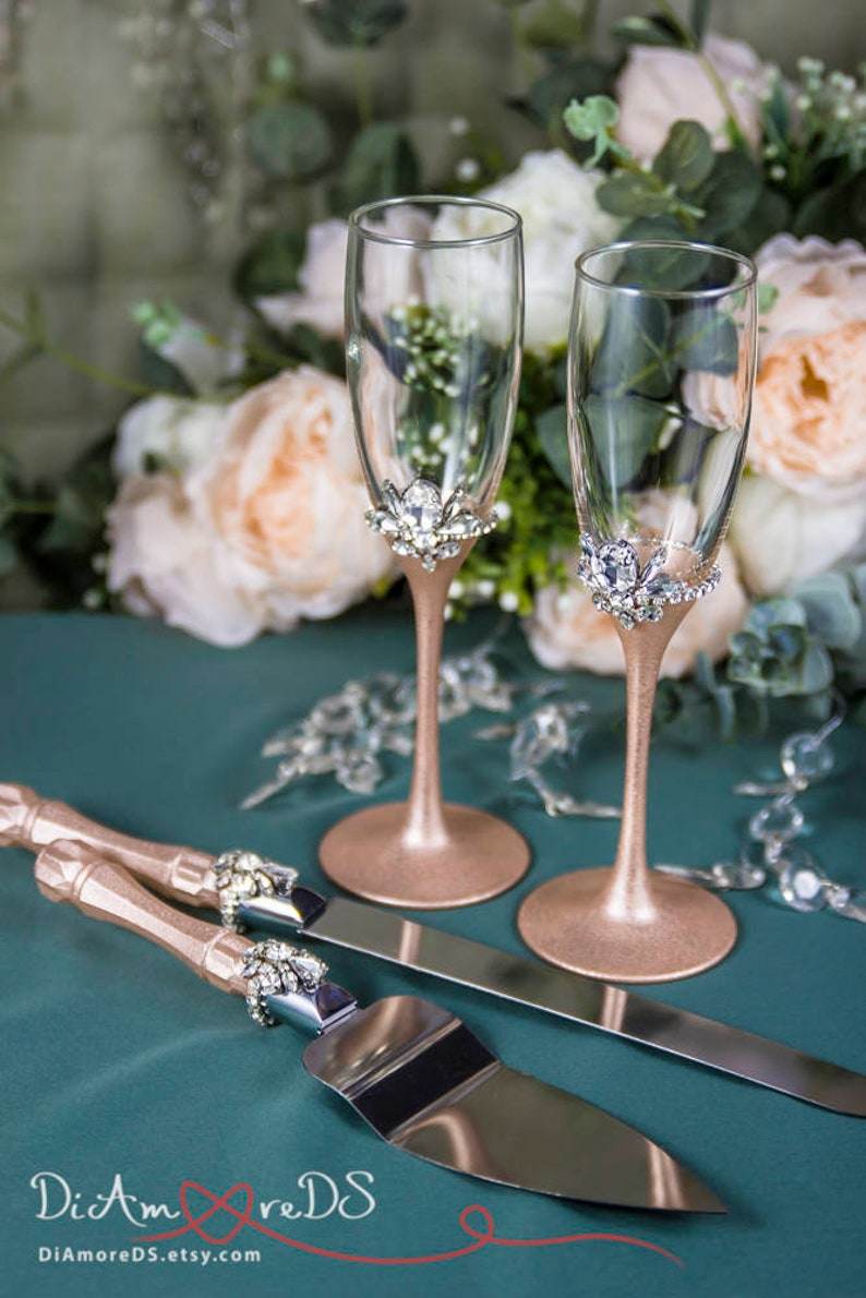 Rose Gold And Crystal Wedding Toasting Glasses And Cake Server Etsy
