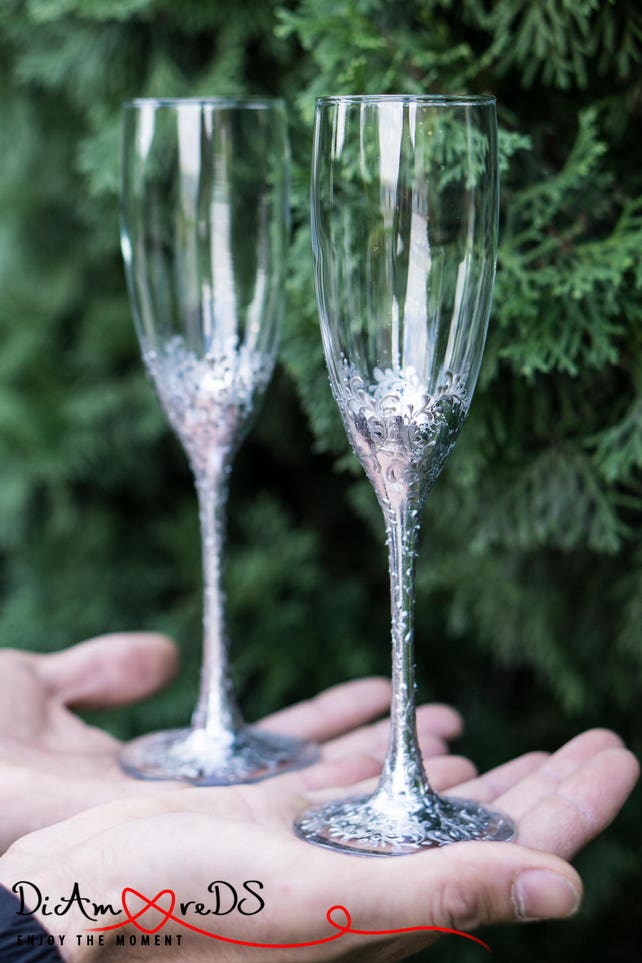 Lace Silver Personalized Wedding Set Champagne Flutes, Wedding Toasting Flutes Set, Flute Engraved Champagne Glasses Server Gift Set, Glasse