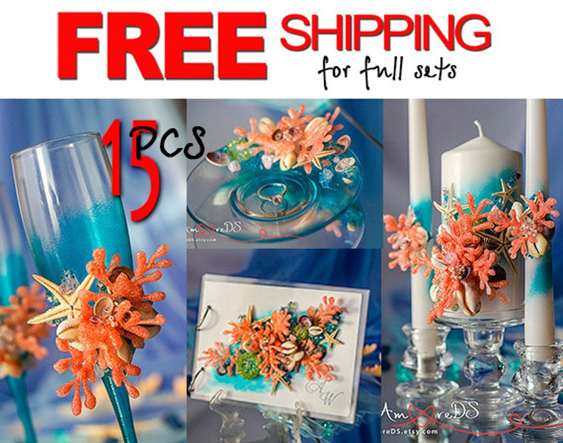 Free Shipping Sea Wedding Decorations Coral And Turquoise Etsy