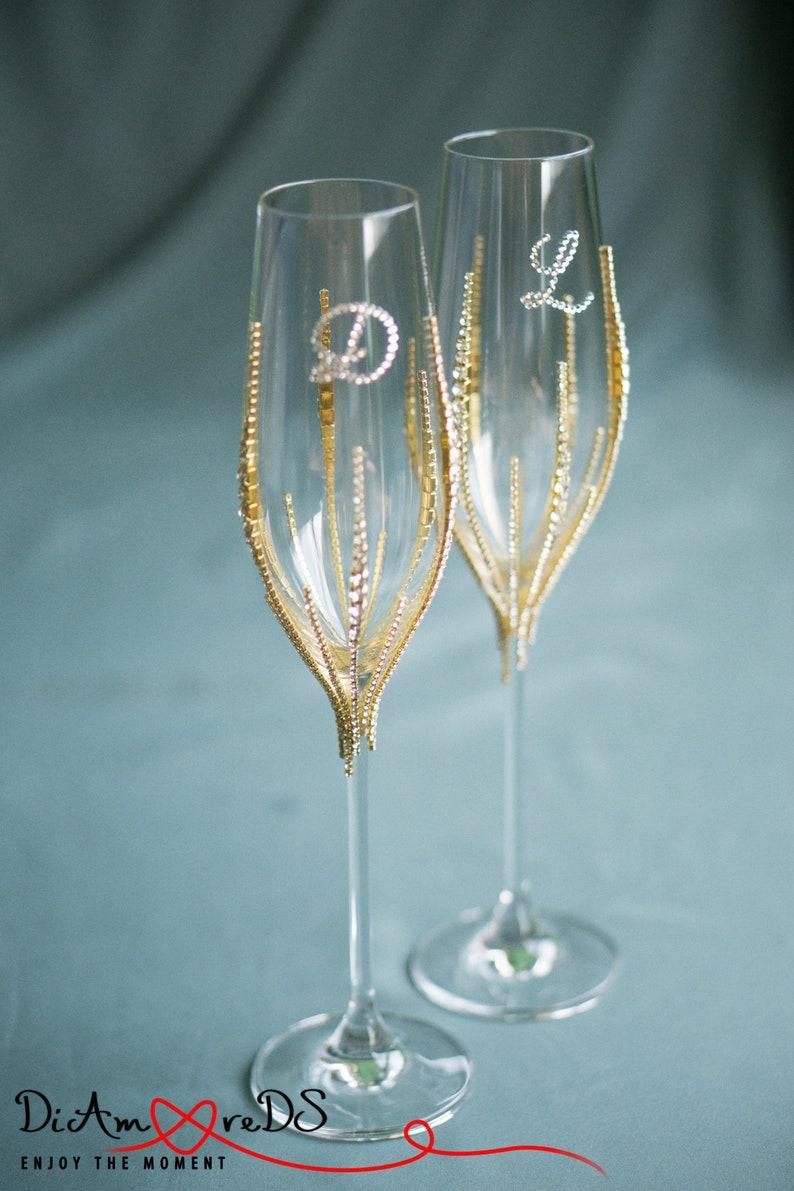 b00f05993354 Personalized Wedding Champagne Glasses Bling Wedding Glasses