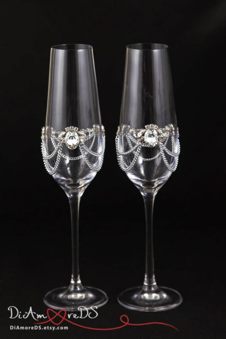 db47b0c69a2 Crystal Wedding Glasses Bling Wedding Engraved Champagne