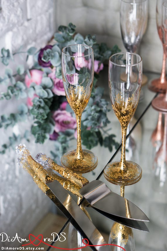 Lace Gold Wedding Set Wedding Champagne Flutes Wedding Etsy