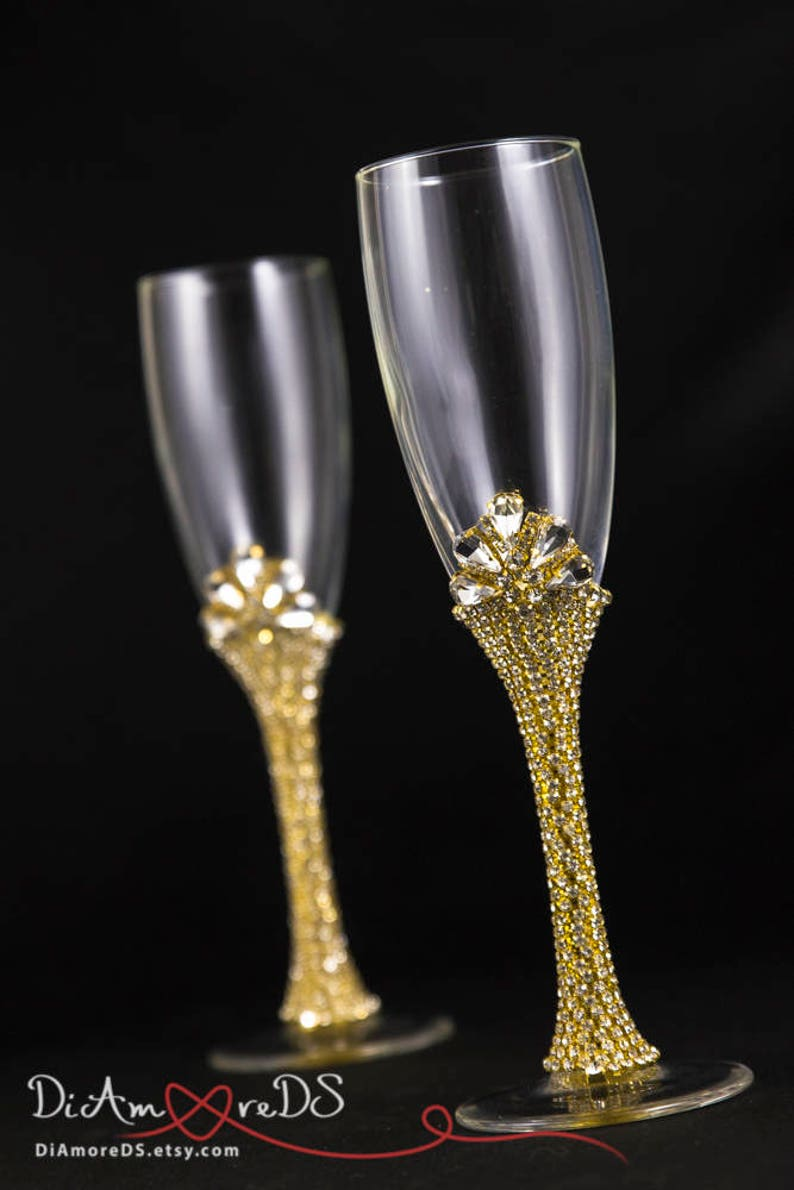 933166ace2f5 Gold Bling Wedding Flutes Wedding Champagne Flutes Crystal