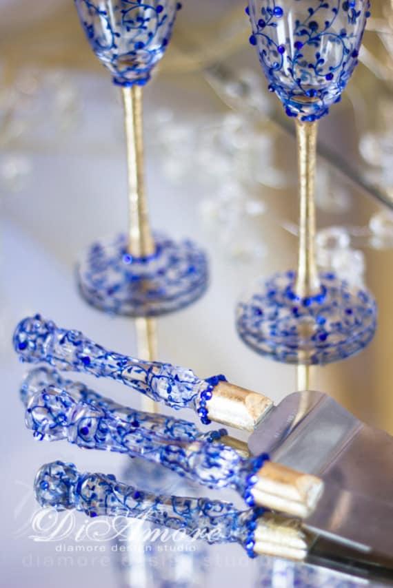 Gold Toasting Flutes And Cake Server Sets