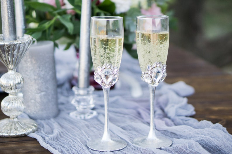 b813164e731d Crystal Wedding Champagne Flute Personalized Bling Wedding