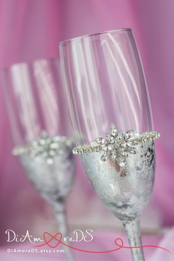 Peachy Snowflake Wedding Glasses Winter Wedding Decor Champagne Flutes Wedding Toasting Glasses Glasses With Initial Wedding Champagne Glasses Download Free Architecture Designs Remcamadebymaigaardcom