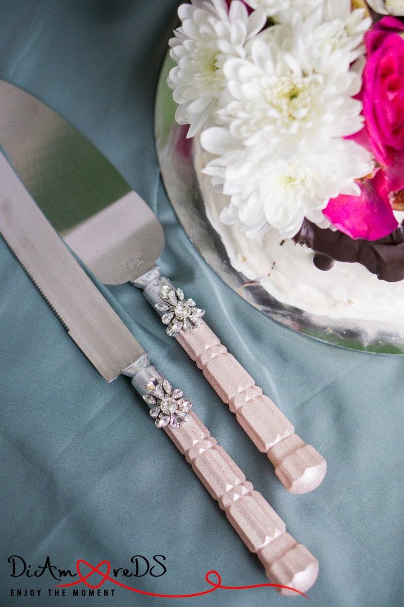 Rose Gold Cake Cutting Set Wedding Cake Serving Set Wedding Etsy