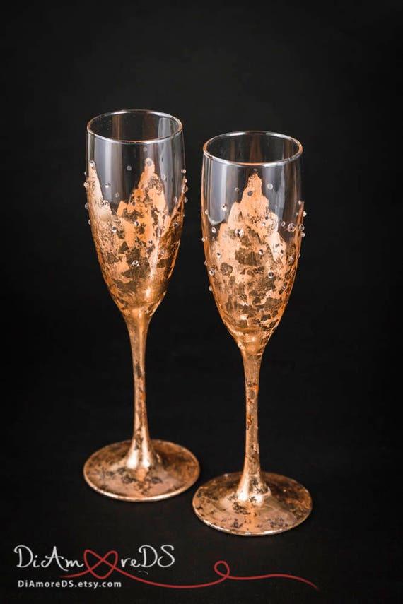 Personalisierte Sektgläser Rose Gold Hochzeit Toasten Flöten Hochzeit Gläser Gravierte Sektgläser Bronze Hochzeit Flöten Set Set