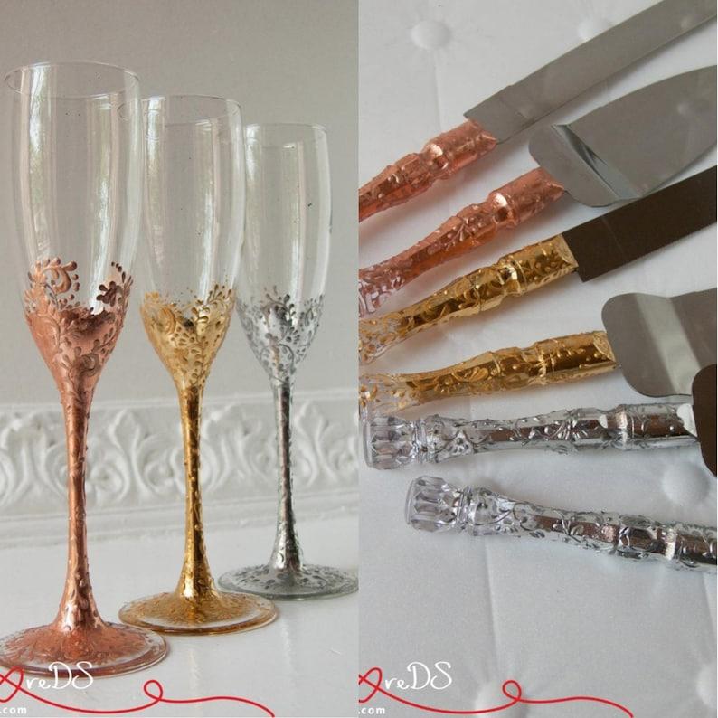 Wedding Cake Cutting Set Toasting Flutes Wedding Flutes Wedding Champagne Flutes Wedding Gift Wedding Glasses Lace Gold Wedding Set