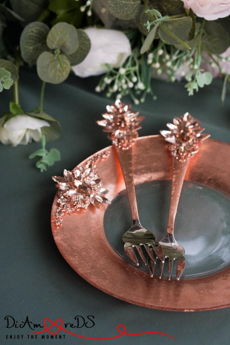 Rose Gold and Crystal Wedding Set Wedding Plates Engraved Wedding Plate /& Fork Luxury Wedding Wedding Plate and Fork Set Wedding Forks