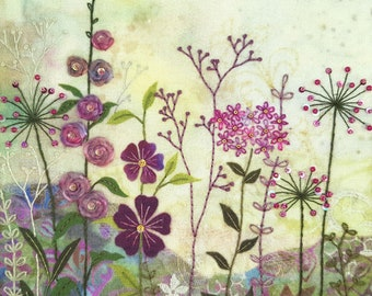 Floral Embroidery Kit 'Purple Garden', Modern Hand Embroidery, Materials Included