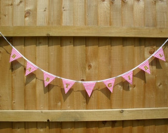 Baby Girl Bunting Pink Gingham with Gold letters.