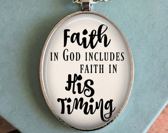 God's Timing Necklace - Hymn Pendant - Bible Verse Necklace - Jewelry for Women - Christian Gift - Birthday Gift Idea - Gift for Her