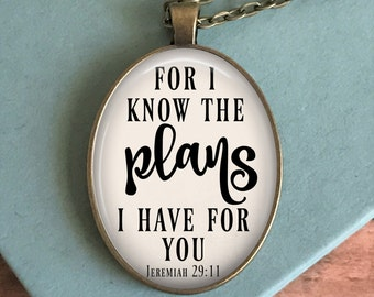 Jeremiah 29:11 Necklace - Hymn Pendant - Bible Verse Necklace - Jewelry for Women - Christian Gift - Birthday Gift Idea - Gift for Her