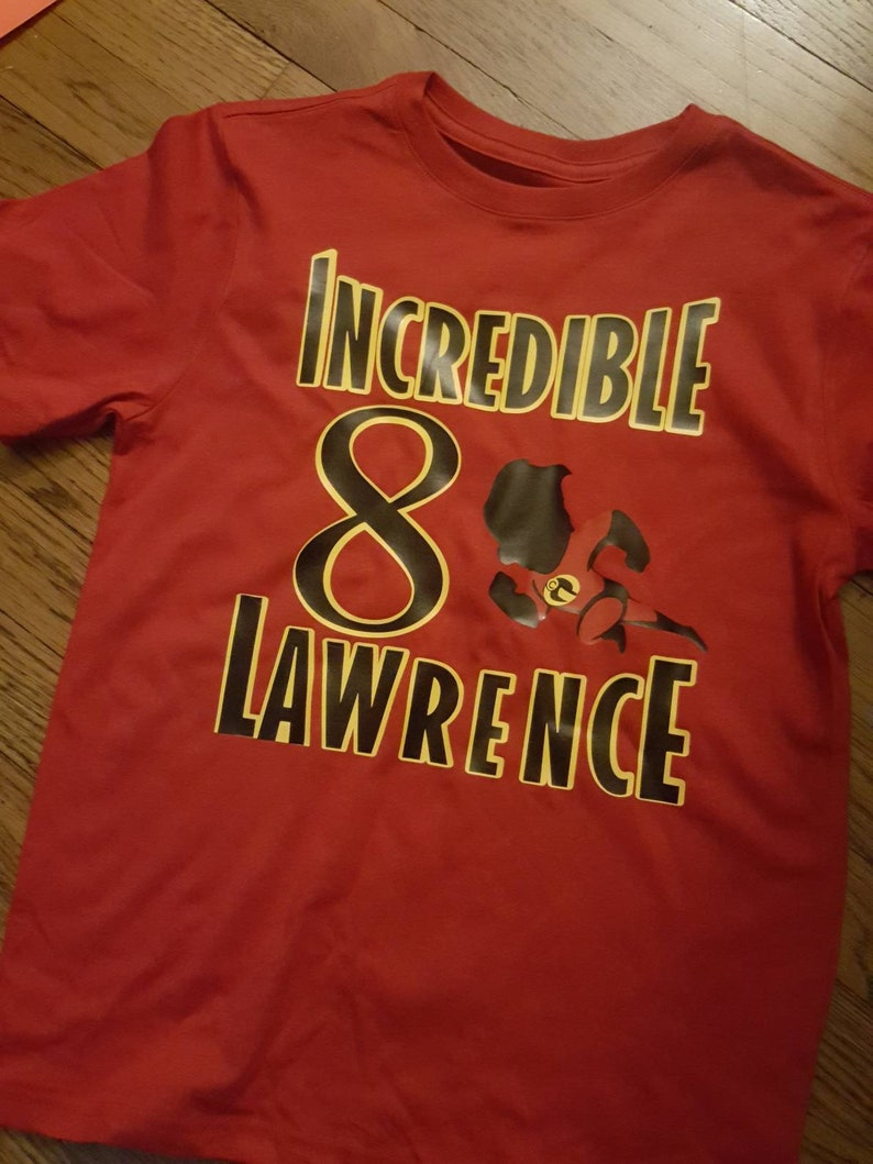 8c38c96a2ae5d Incredibles Dash Custom Birthday T shirt with yellow gold HTV. Incredible  Birthday Shirt all ages. Incredibles 2