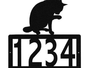 Cat Address Metal Sign, Custom Number or Name