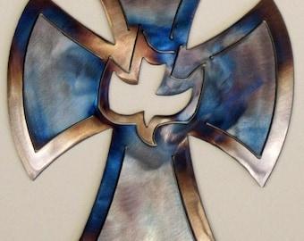 Metal Christian Cross with Dove