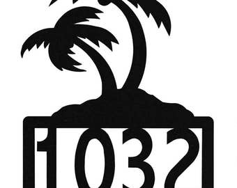 Palm Tree Metal Address Sign
