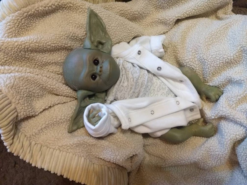 Yoda inspired baby mandalorian reborn one of a kind image 5