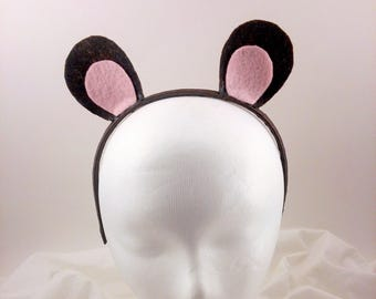 Brown Animal Ears /  Mouse Ears / Bear Ears / Monkey Ears / Animal Ear Headband / Halloween Costume / Cosplay