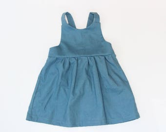 Made to Order Baby Linen/Cotton Pinafore in Teal