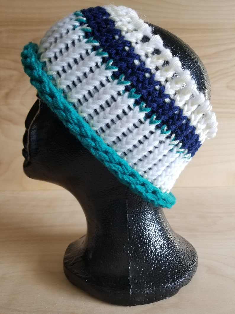 headband blue Hand knitted ear warmer LOAF yellow teal white striped
