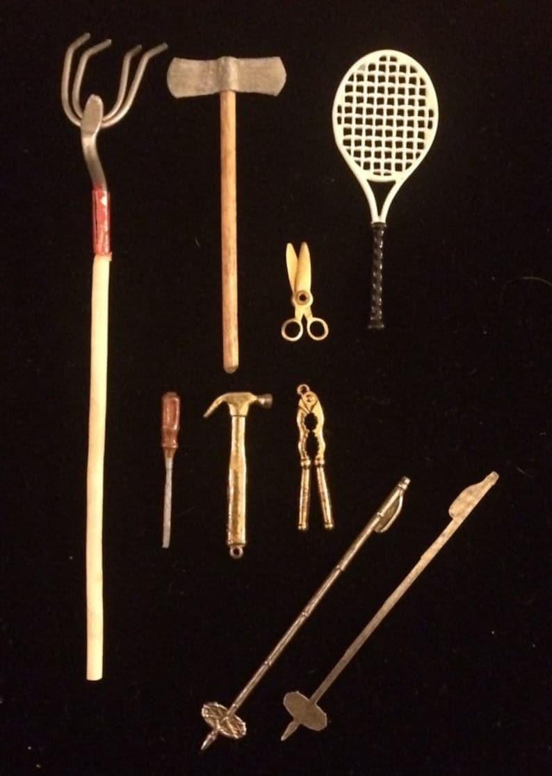 Vintage Miniature Tools Handyman Tool Supplies Miniature Rake Nutcracker Hammer Screwdriver Scissors Tennis Racket Hatchet Ski Poles