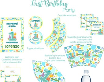 First Birthday blue Printable Party
