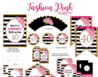 Fashion pink party printable party