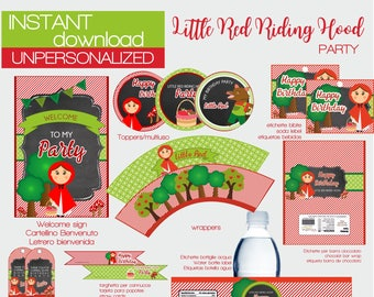 INSTANT DOWNLOAD little red riding hood  printable party