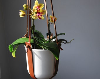 Leather Plant Hanger Flower Pot Hanger & Flower pot hanger | Etsy