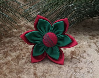 Christmas Dog Flower, Holiday Dog Collar Clip, Red and Green Dog Flower