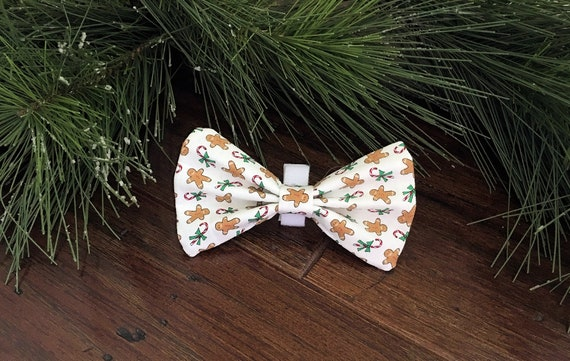 Christmas Dog Bow Tie Removable Pink Holiday Pet Bow with Velcro Gingerbread Cookie Dog Bow
