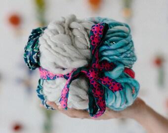 Knitting Kit // Handspun Yarn Kit, Wool Yarn, Mohair Yarn, Chunky, Bulky Yarn, Soft Yarn, Cotton Yarn, Mini Skeins, Boho Yarn, Foggy Blue